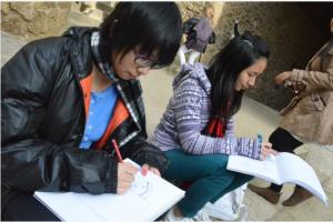 SAC Students sketching at Park Güell